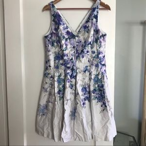 Watercolor Floral Summer Sleeveless A-Line Dress